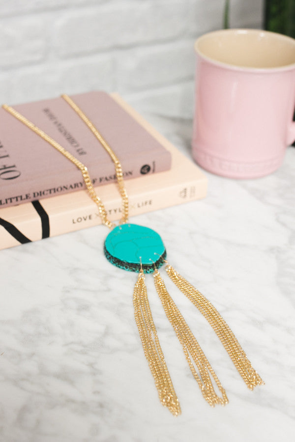 Talk Tropical To Me Agate Necklace In Turquoise