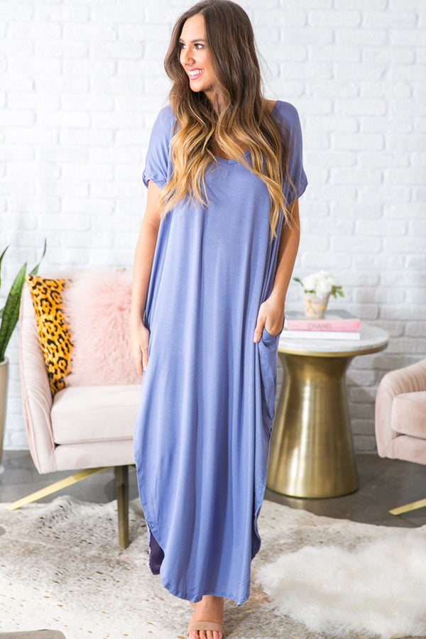 Beachy Keen T-Shirt Maxi in Periwinkle