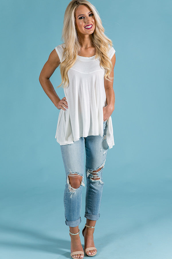Take Me Out Shift Tank in Ivory