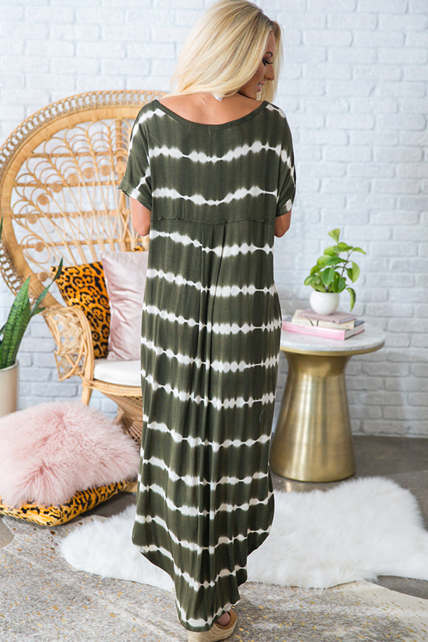 Beachy Keen Stripe Tie Dye T-Shirt Maxi in Army Green