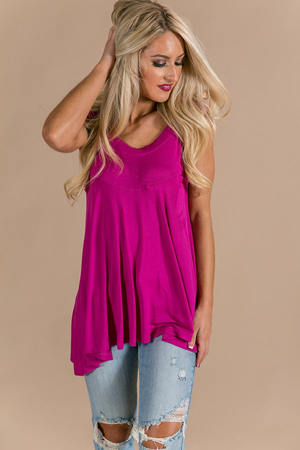 Take Me Out Shift Tank in Berry