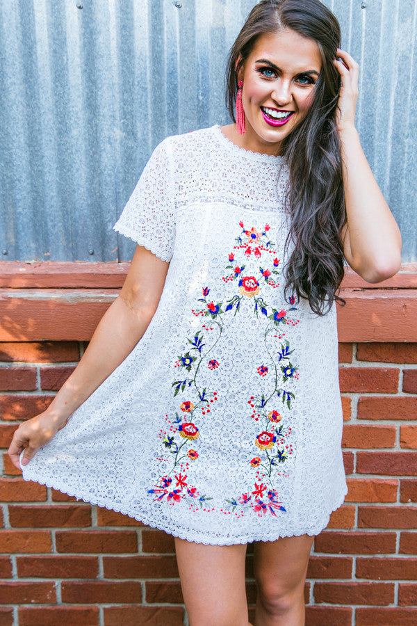 Meet Me In Paradise Lace Shift Dress in White