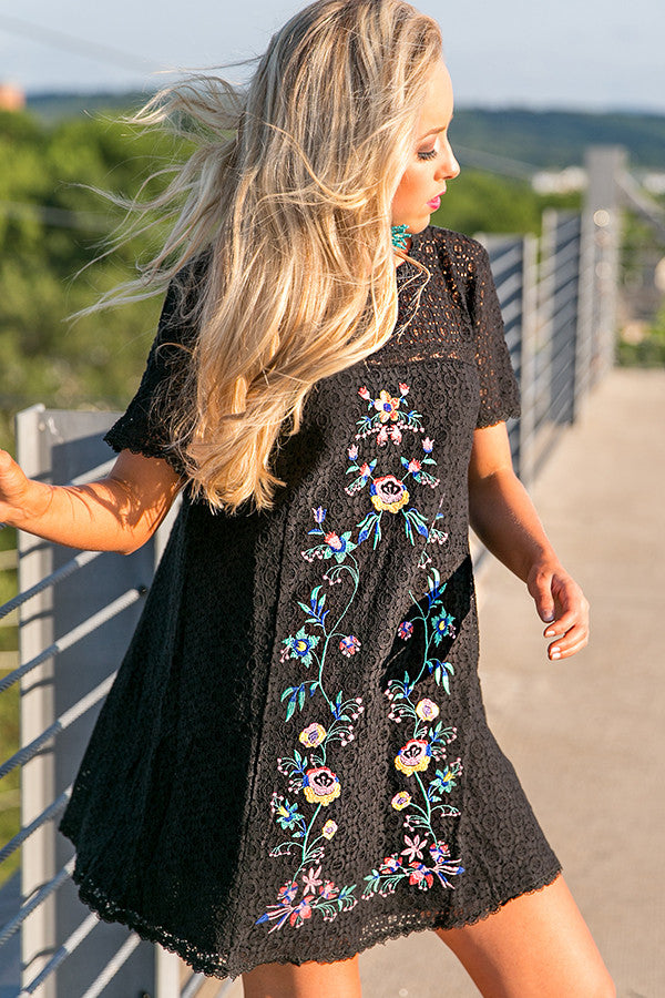Meet Me In Paradise Lace Shift Dress in Black
