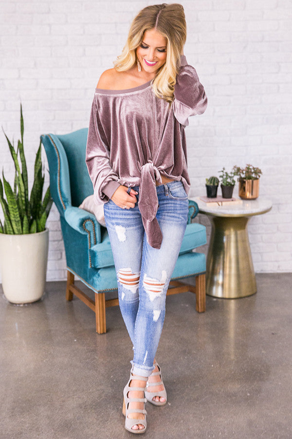 Knot To Self Velvet Sweater In Heirloom Lilac