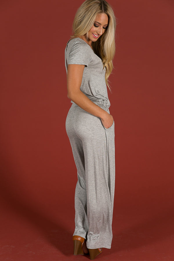 Good Vibes Only Jumpsuit In Grey