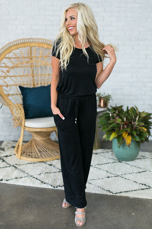 Good Vibes Only Jumpsuit In Black