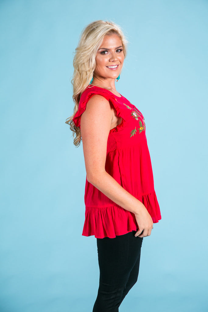 Strolling Through Paradise Embroidered Top in Red