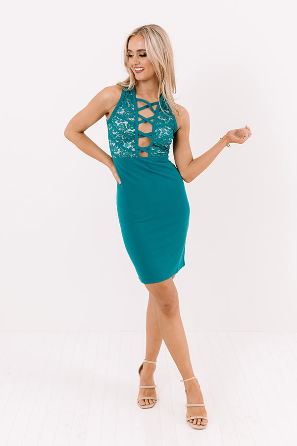 All For Tonight Lace Dress in Teal