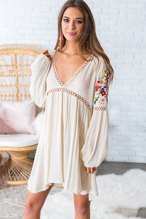 Forever Boho Embroidered Babydoll Dress