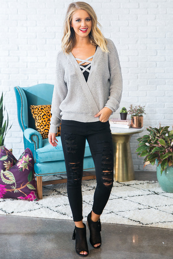 Cozied Up To You Knit Sweater in Grey