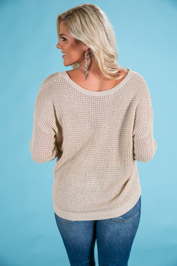 Cozied Up To You Knit Sweater in Beige