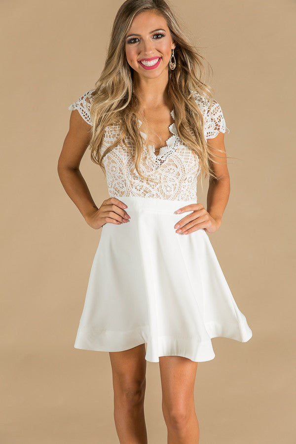 Miracles Happen Crochet Fit and Flare Dress in White