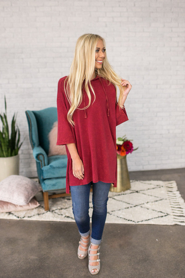I'm Crazy For You Tunic Sweater In Wine