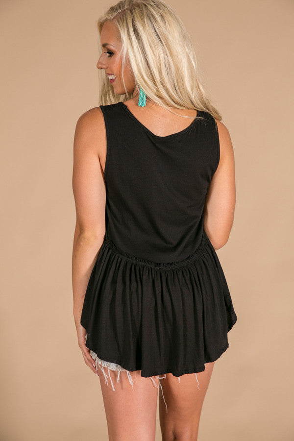 Chasing The Sunset Babydoll Tank in Black