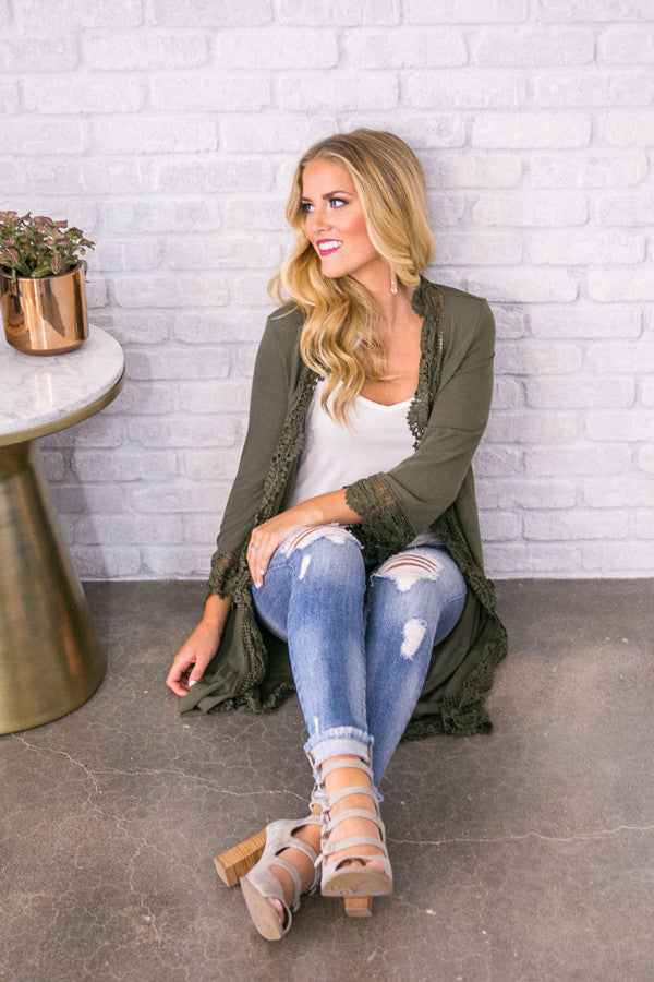 Life And Laughter Crochet Trim Cardigan In Olive