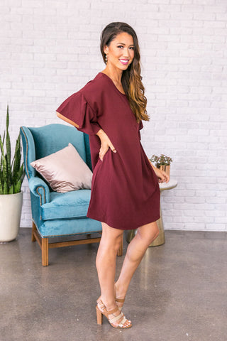 Styled With Flair Shift Dress in Wine