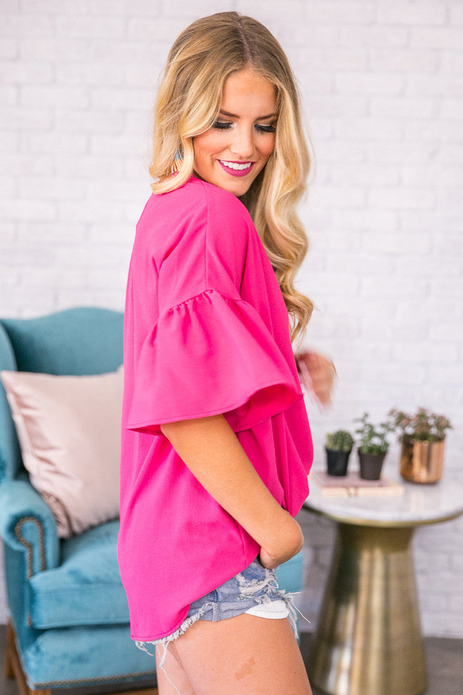 Oh So Swept Away Shift Top in Hot Pink