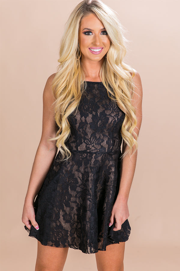All Things Pretty Lace Fit and Flare Dress in Black
