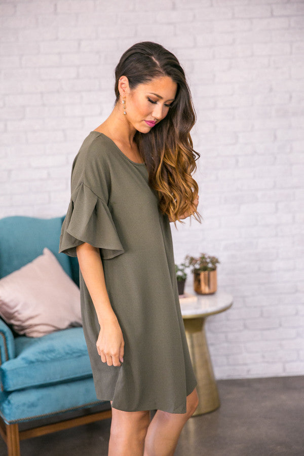 Styled With Flair Shift Dress in Army Green