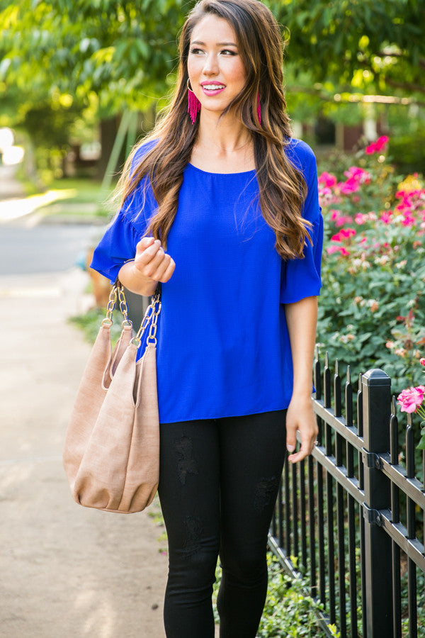 Oh So Swept Away Shift Top in Royal Blue