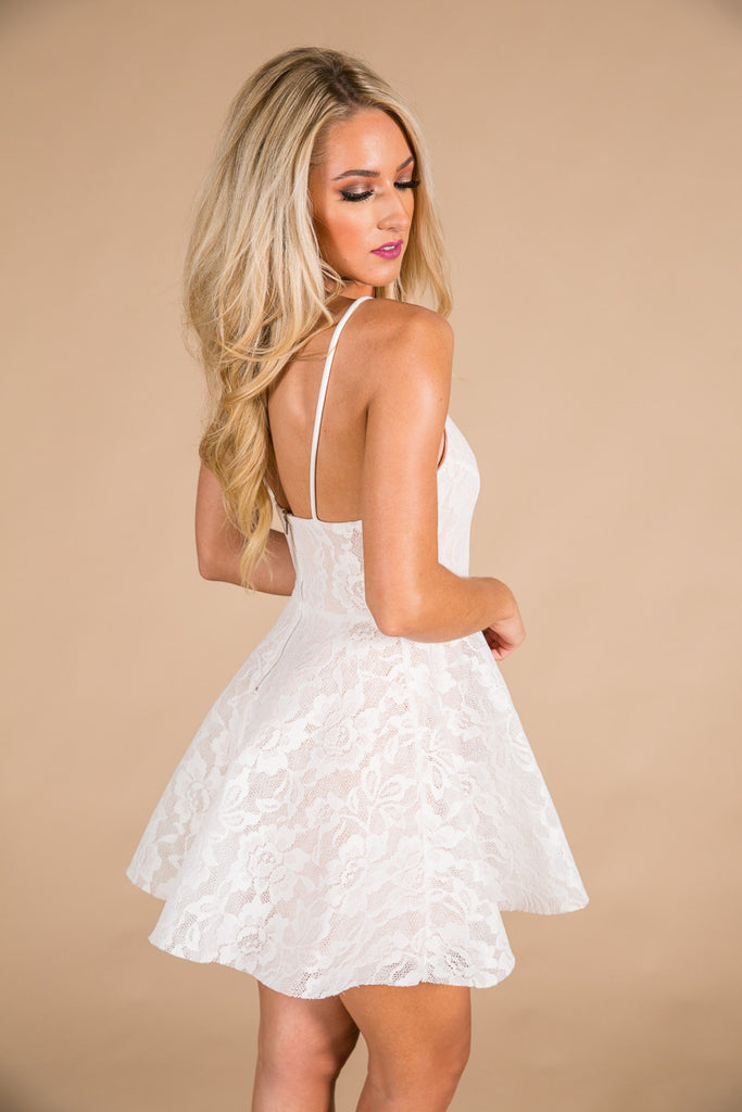 All Things Pretty Lace Fit and Flare Dress in White