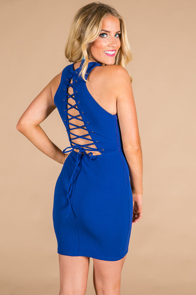 All Laced Up Dress in Royal Blue