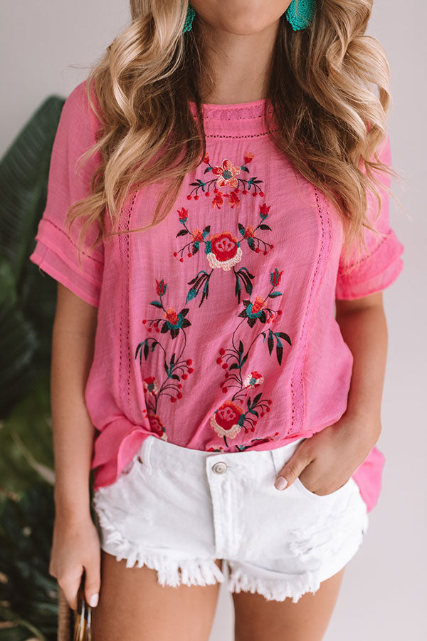 Meet Me In Paradise Shift Top In Pink