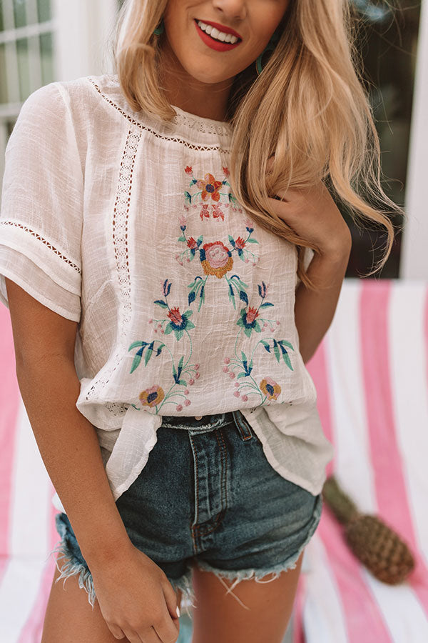 Meet Me In Paradise Shift Top In White