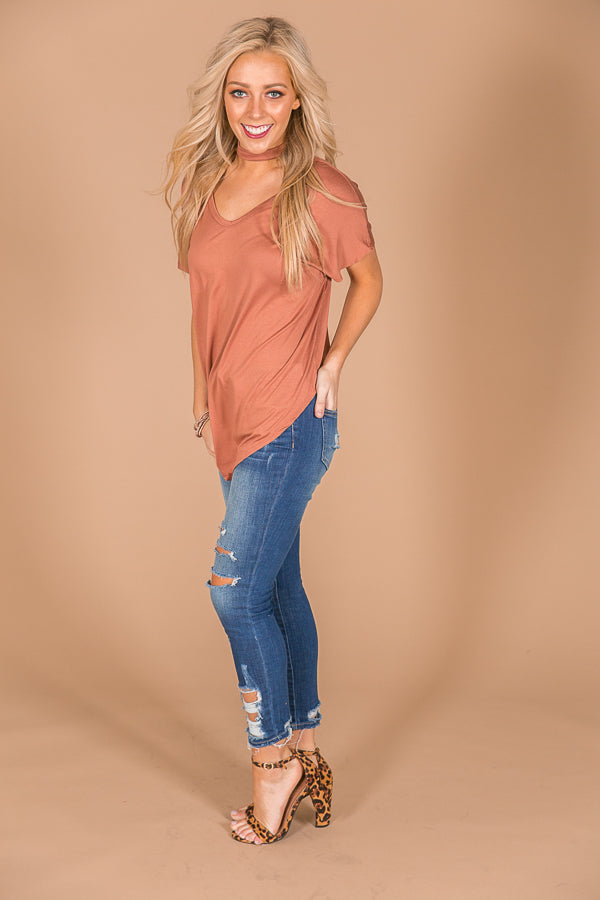 City Vibes Shift Tee in Rustic Rose