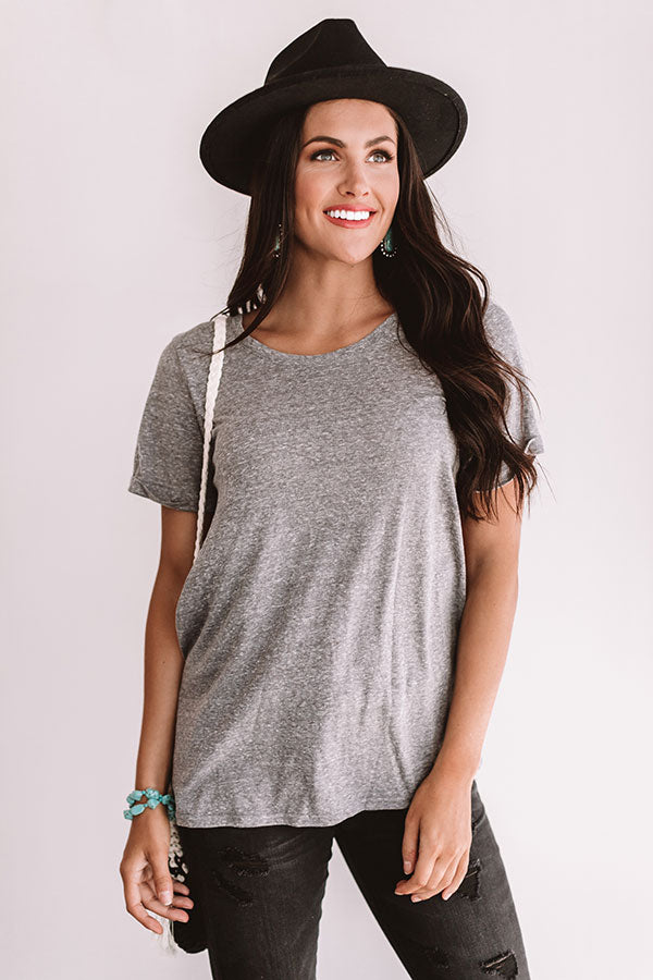 Believe The Hype Lace Up Tee in Grey