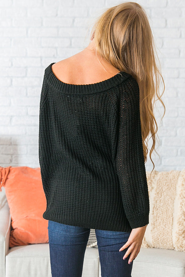 Give Me Cozy Off Shoulder Sweater in Black