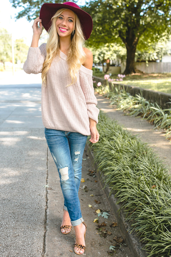 Give Me Cozy Off Shoulder Sweater in Dusty Purple