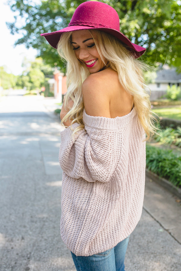 Give Me Cozy Off Shoulder Sweater In Dusty Purple Impressions