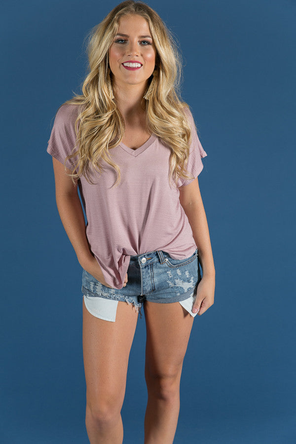 The Bombshell Basic V-Neck Tee in Dusty Purple
