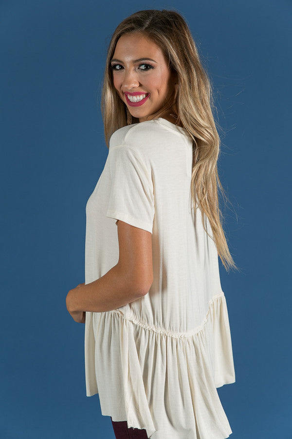 Beauty And Bliss Babydoll Top in Cream