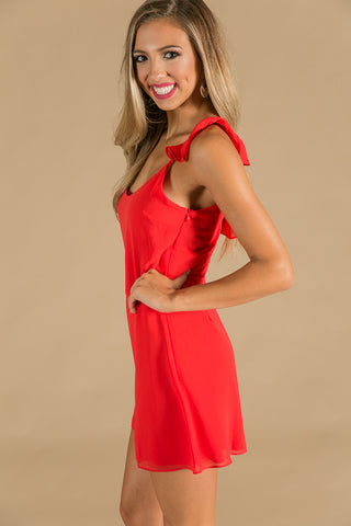 Flirt And Flutter Dress In Red
