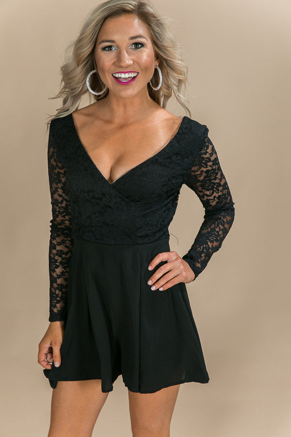 It's Fate Lace Romper in Black