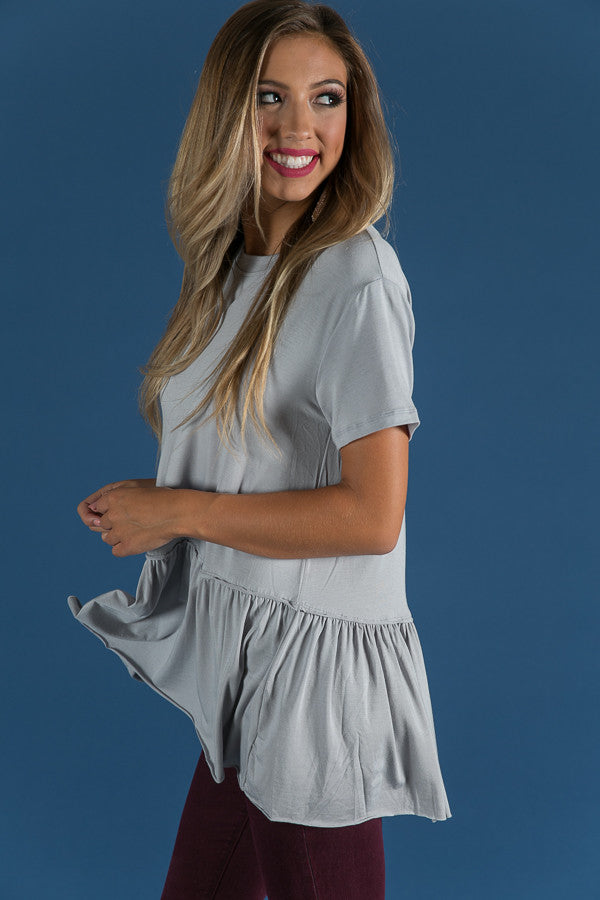 Beauty And Bliss Babydoll Top in Grey