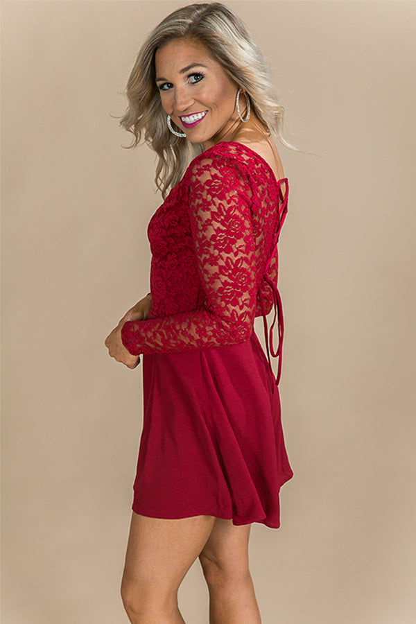 It's Fate Lace Romper in Crimson