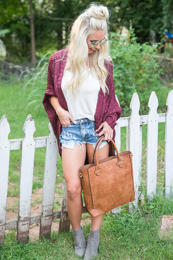 Cuddle Up Knit Cardigan in Maroon