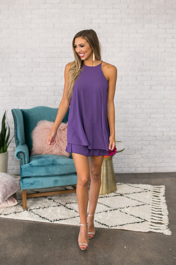 Friday Night Sights Shift Dress in Purple