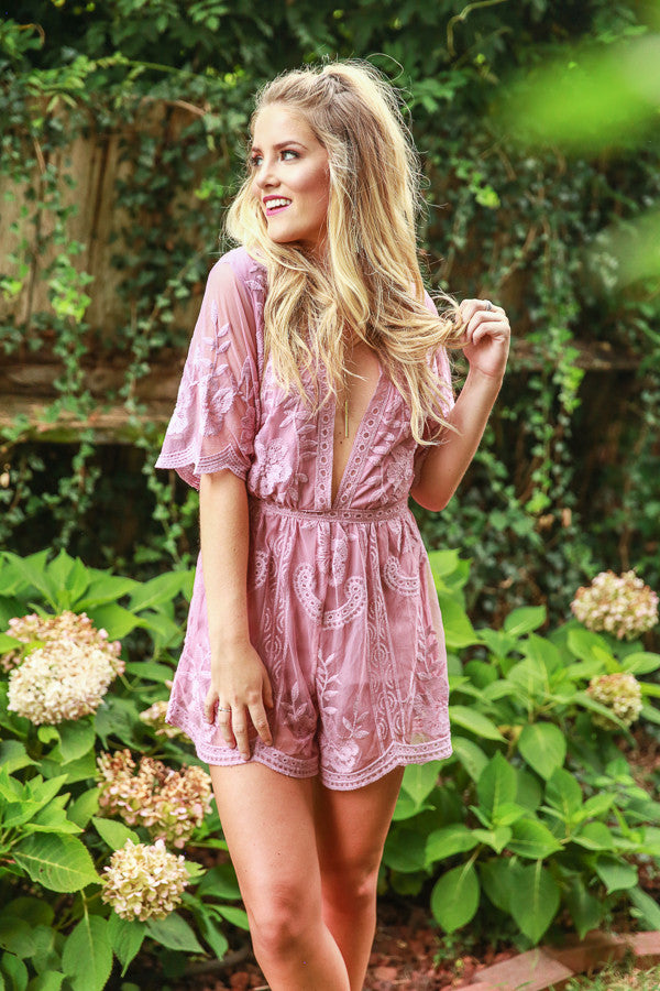 Lovely In London Lace Romper in Blush