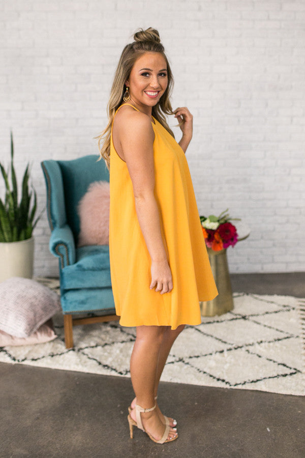 Southern Sipping Shift Dress In Marigold