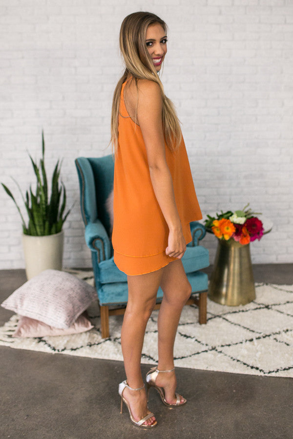 Friday Night Sights Shift Dress in Rust