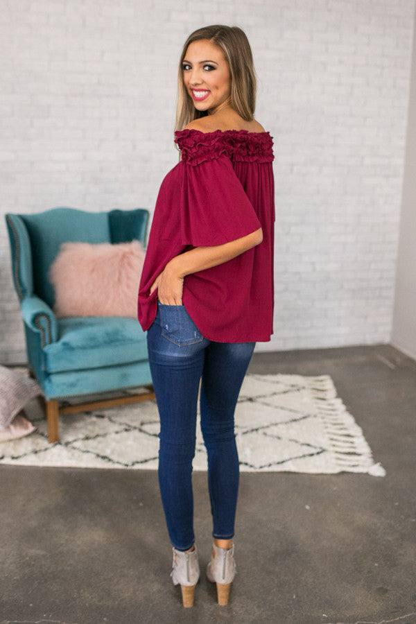 Roll With It Off Shoulder Tunic In Crimson