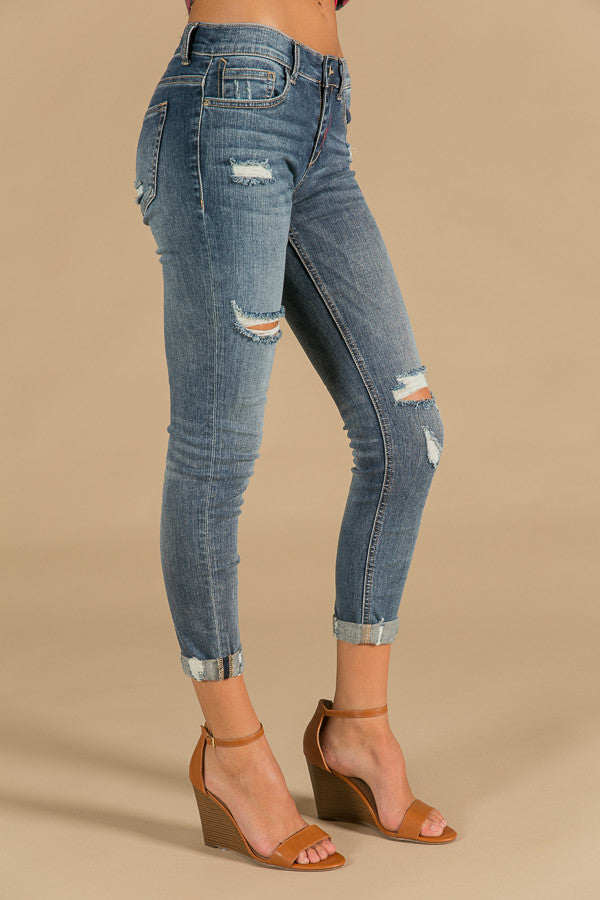 No Drama Distressed Mid Rise Skinny