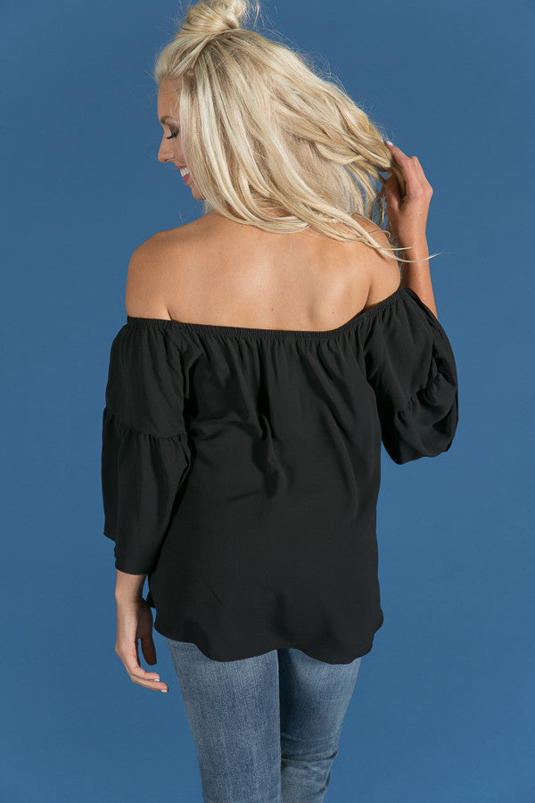 Cheering For You Off Shoulder Top in Black