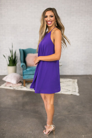 Southern Sipping Shift Dress In Purple