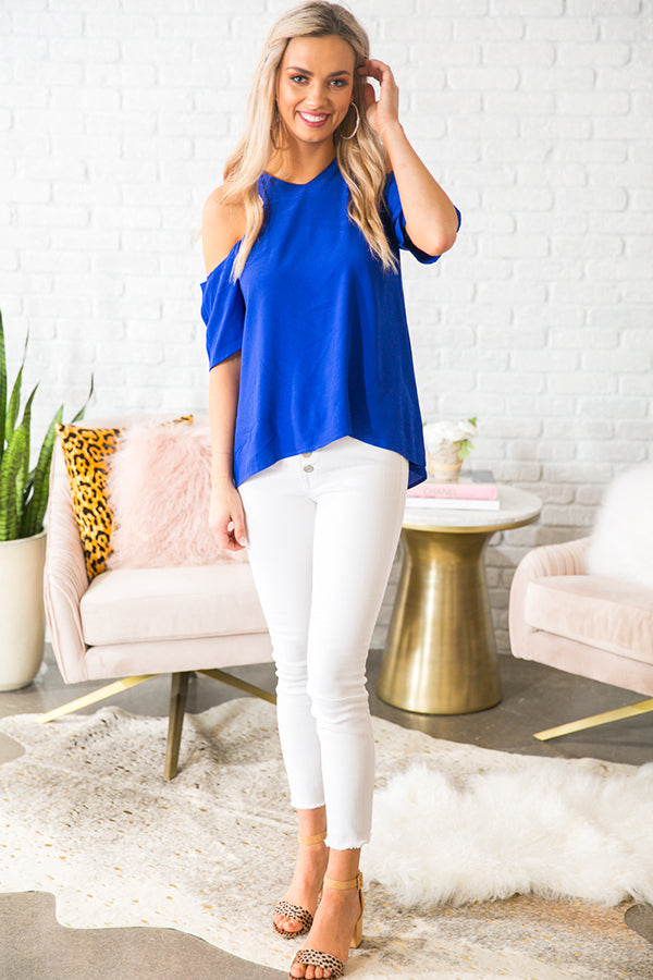 Cabernet and Sway Cold Shoulder Top in Royal Blue
