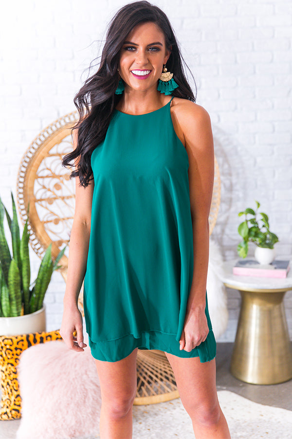 Friday Night Sights Shift Dress in Hunter Green